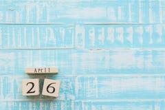 День 26-ое апреля интеллектуальной собственности мира, деревянный календарь блока Стоковые Изображения RF