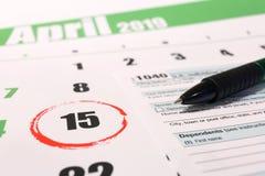 День 15-ое апреля 2019 налога США стоковые фотографии rf