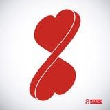 День 8-ое марта женщин. Сердце. Стоковые Фотографии RF