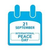 День 21-ое сентября мира во всем мире Лист календара Стоковые Изображения RF