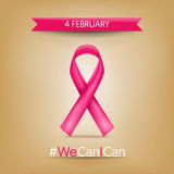 День 4-ое февраля Карциномы мира, розовое ribbo Стоковая Фотография