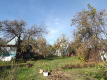 День осени в саде вне города, outdoors Стоковые Изображения RF