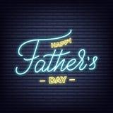 День отцов Неоновый накаляя дизайн шильдика литерности на день ` s отца Стоковая Фотография
