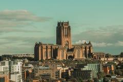 День от ландшафта собора Ливерпуля и города сверху стоковые изображения