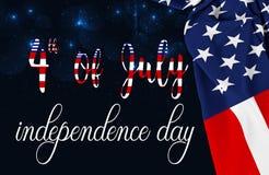 День памяти погибших в войнах американского флага или 4-ый из июля стоковое изображение rf