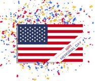 День памяти погибших в войнах в Соединенных Штатах Национальный флаг с надписью Стоковая Фотография