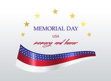 День памяти погибших в войнах в Соединенных Штатах Национальный флаг с надписью Стоковые Изображения RF