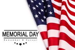 День памяти погибших в войнах текста на предпосылке американского флага стоковое изображение