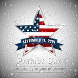 День 9 патриота цифровой знак 11 с звездой на предпосылке дождевой капли, иллюстрацией вектора иллюстрация штока