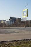 День пешеходного перехода и церков весной Стоковая Фотография RF
