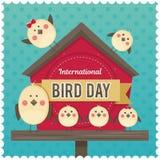 День птицы IlInternational Иллюстрация вектора на праздник Космос для текста Стоковое фото RF