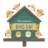 День птицы IlInternational Иллюстрация вектора на праздник Космос для текста Стоковые Изображения RF