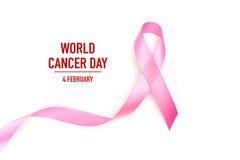День рака мира: Лента осведомленности рака молочной железы на белом Backg Стоковая Фотография