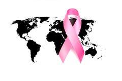 День рака мира: Лента осведомленности рака молочной железы на карте мира Стоковое Изображение RF