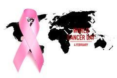 День рака мира: Лента осведомленности рака молочной железы на карте мира Стоковая Фотография RF