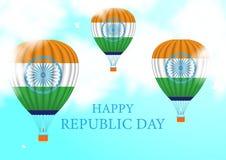День Республики Индия Горячий воздушный шар парящий в облаках в небе иллюстрация вектора