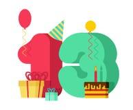 день рождения поздравительной открытки 13 год 13th торжество Tem годовщины Стоковое Изображение
