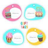 день рождения счастливый Бирки с тортами и место для текста бесплатная иллюстрация