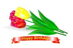 день рождения счастливый Букет 3 красного и желтых тюльпанов с красной лентой и приветствием дня рождения Стоковое фото RF