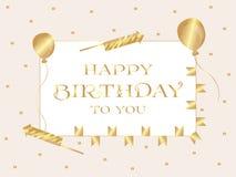 день рождения счастливый карточка 2007 приветствуя счастливое Новый Год Надпись написана в письмах золота в прямоугольнике вектор иллюстрация вектора