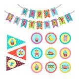 день рождения счастливый Комплект элементов вектора для дня рождения партии украшения Стоковое Изображение
