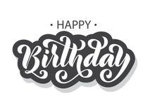 день рождения счастливый Нарисованная рукой карточка литерности щетка самомоднейшая бесплатная иллюстрация