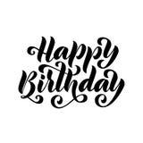 день рождения счастливый Нарисованная рукой карточка литерности Современная иллюстрация вектора каллиграфии щетки Черный текст на иллюстрация штока