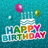 день рождения счастливый Поздравительая открытка ко дню рождения с confetti и воздушными шарами Вектор Eps10 иллюстрация вектора