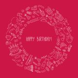 День рождения doodles вокруг венка рамки декоративного Стоковые Фотографии RF