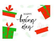ДЕНЬ РОЖДЕСТВЕНСКИХ ПОДАРКОВ, знамя с днем рождественских подарков иллюстрация штока