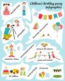 День рождения детей Infografics Стоковая Фотография RF