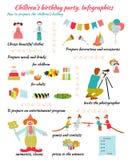 День рождения детей Infografics Стоковые Изображения RF