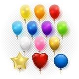 День рождения или вектор партии установленный воздушными шарами Стоковые Фотографии RF