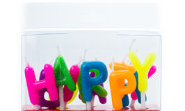 День рождения коробки установленный миражирует алфавит изолированный на белой предпосылке Стоковое фото RF