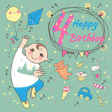 День рождения мальчика 4 года. Поздравительная открытка  Стоковое Изображение RF