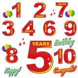 День рождения - номера и элементы Стоковые Изображения RF