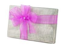 День рождения рождества ленты серебряной подарочной коробки фиолетовый Стоковое фото RF