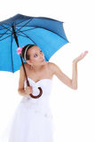 День свадьбы. Невеста при голубой изолированный зонтик Стоковая Фотография