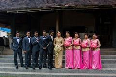 День свадьбы пар Sri Lankan стоковая фотография