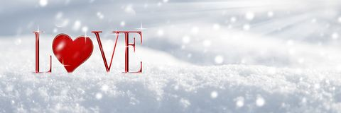 Любовь в снеге иллюстрация штока