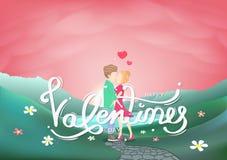 День Святого Валентина, любовник, украшение каллиграфии и поздравительная открытка характеров людей творческая, конспект праздник бесплатная иллюстрация