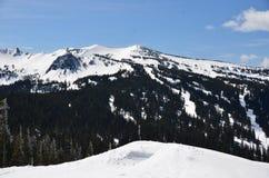 День синей птицы на белом лыжном курорте пропуска, штате Вашингтоне Стоковые Фотографии RF