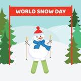 День снега мира Лыжник снеговика на предпосылке сугробов и Стоковое Изображение RF
