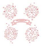 День счастливого Valentin Установите линии иллюстраций Прокалыванное сердце, голуби любов, stemware, знаки рода вектор бесплатная иллюстрация