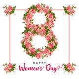 День счастливых женщин 8-ое марта, розовая поздравительная открытка цветка Стоковые Изображения