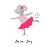 День танца Иллюстрация вектора на праздник Мышь танцует как балерина Милый чертеж Стоковая Фотография