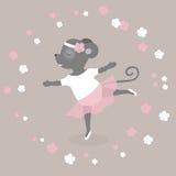 День танца Иллюстрация вектора на праздник Мышь танцует как балерина Милый чертеж Стоковые Изображения