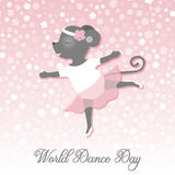 День танца Иллюстрация вектора на праздник Мышь танцует как балерина Милый чертеж Стоковое Изображение