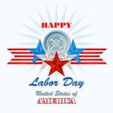 День Трудаа, абстрактный графический дизайн компьютера с молотком и ключ Стоковая Фотография