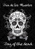 День умерших, мексиканский фестиваль muertos de dia los Поздравительная открытка, рогулька, день плаката умерших Череп сахара Ill Стоковое фото RF